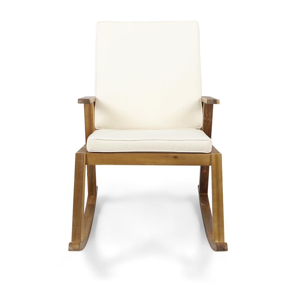 Noble House Champlain Teak Brown Wood Outdoor Rocking Chair With Cream Cushion