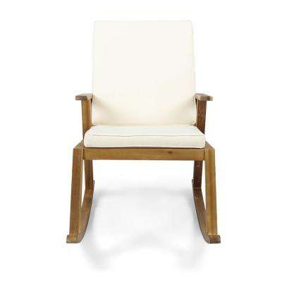 Champlain Teak Brown Wood Outdoor Rocking Chair with Cream Cushion