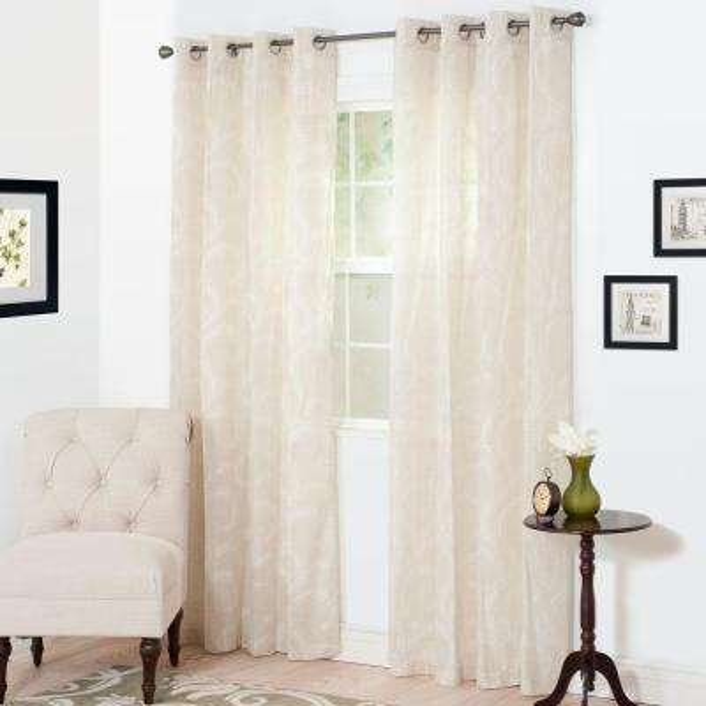 Semi-Opaque Andrea White Polyester Curtain Panel 54 in. W x 108 in. L