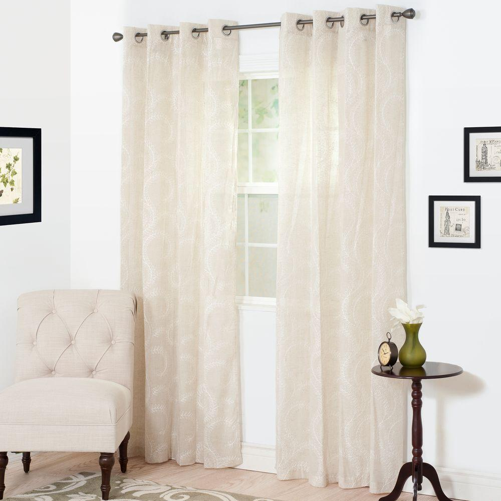 Semi-Opaque Andrea White Polyester Curtain Panel 54 in. W x 95 in. L was $16.47 now $10.71 (35.0% off)