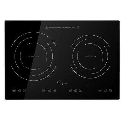 20.5 in. Electric Induction Cooktop Horizontal 2-Element Burner in Black