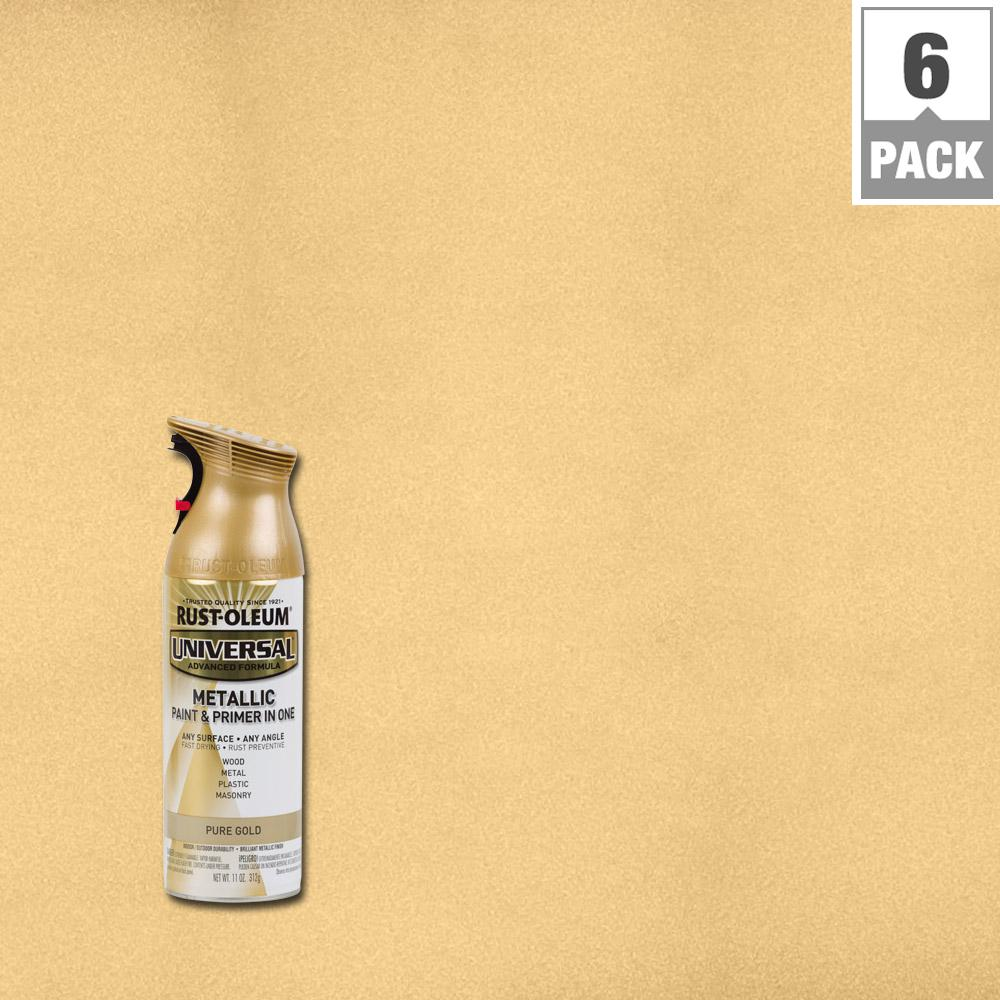 Rust-Oleum Universal 11 oz. All Surface Metallic Pure Gold Spray Paint and Primer in One (6-Pack)