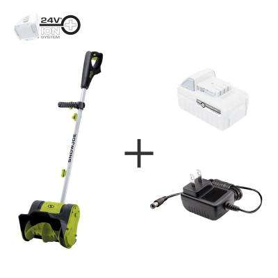 10 in. 24-Volt Cordless Electric Snow Shovel Kit with 5.0 Ah Battery + Charger, Green
