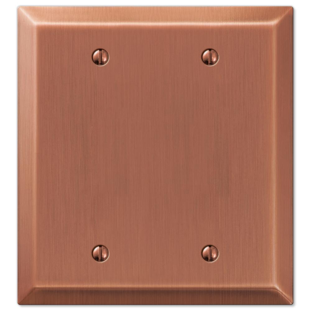 Metallic 2 Gang Blank Steel Wall Plate - Antique Copper