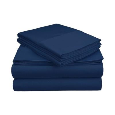4-Piece Navy Solid 1800 Thread Count Microfiber King Sheet Set