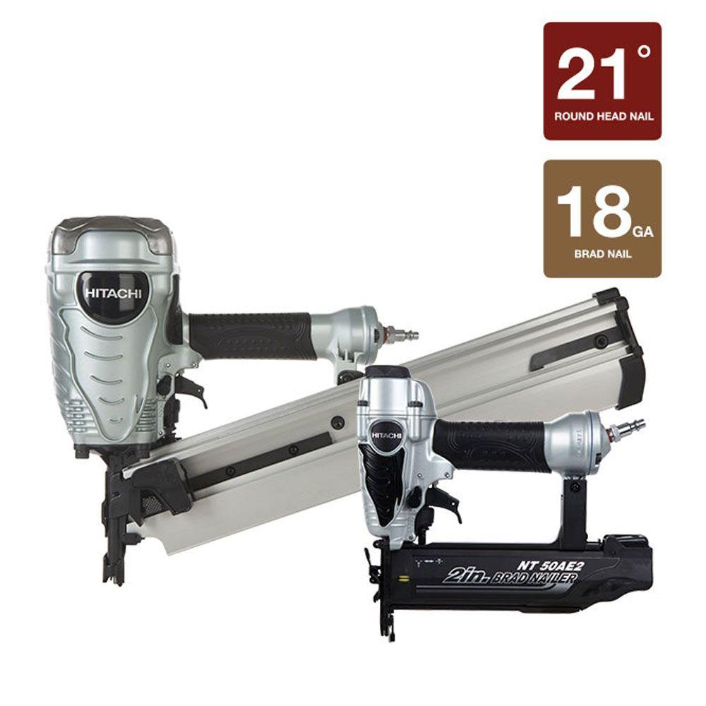 Hitachi 2-Piece 3.5 in. Plastic Strip Collated Framing Nailer and 2 in. x 18-Gauge Nailer Kit