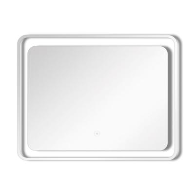 Gabriel 23.62 in. W x 19.69 in. H Frameless Square LED Light Bathroom Vanity Mirror in Silver