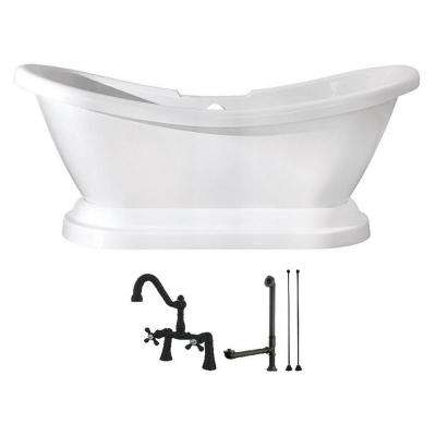 Pedestal 5.8 ft. Acrylic Flatbottom Bathtub in White and Faucet Combo in Oil Rubbed Bronze