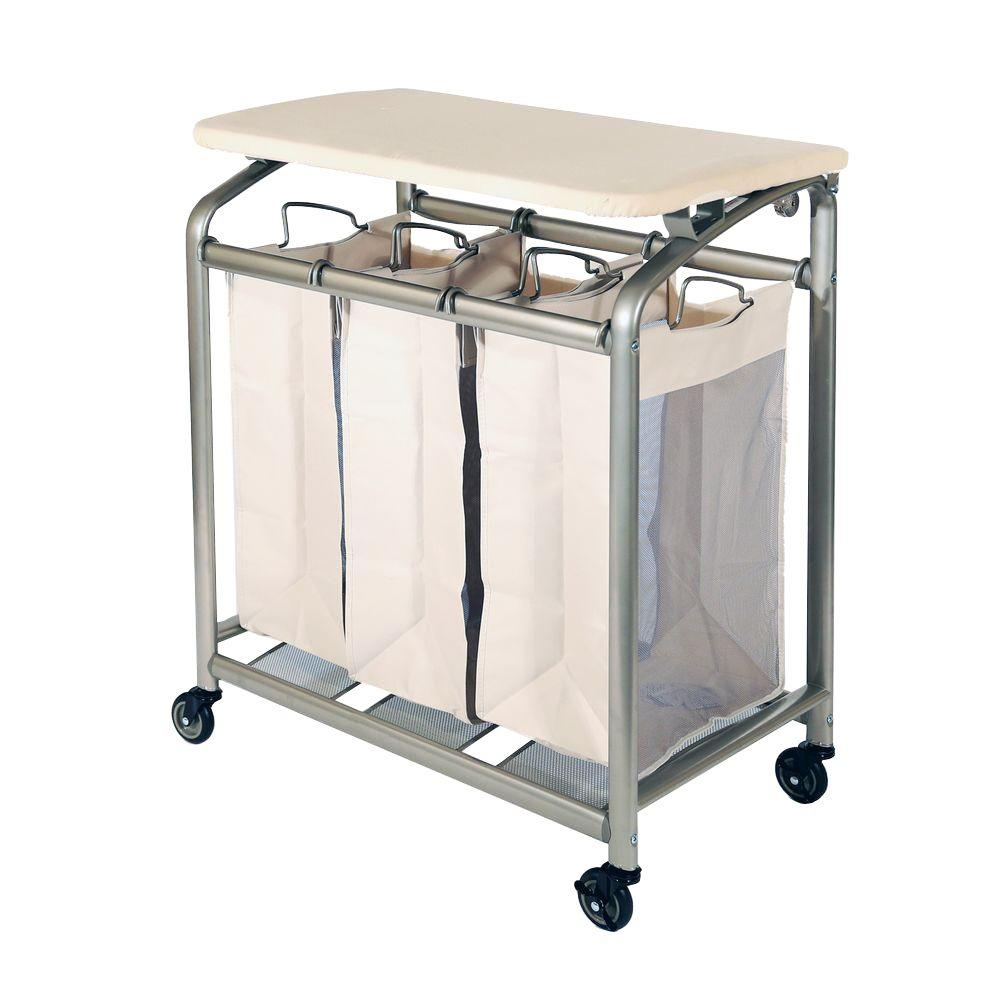 Seville Clics 3 Bag Laundry Sorter With Folding Table