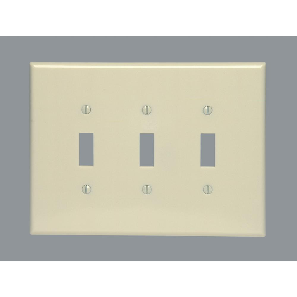 Electrical Wall Plates Leviton 3Gang 3Toggle Oversized Plastic Wall Plate Ivory86111