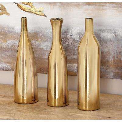 12 in. Modern Yellow and Gold Ceramic Decorative Vases (Set of 3)