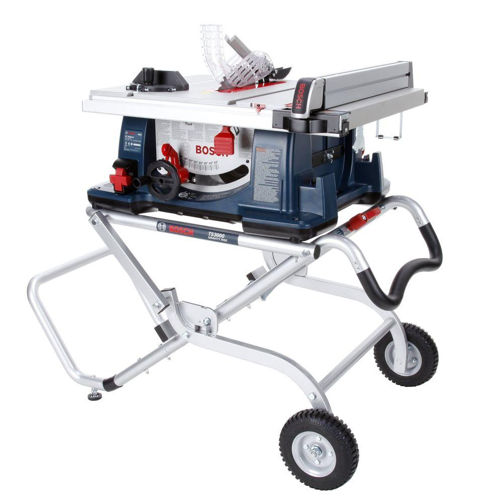 bosch 15 amp corded 10 in worksite table saw with gravity rise wheeled stand 4100 09 the home. Black Bedroom Furniture Sets. Home Design Ideas