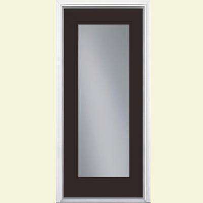 32 in. x 80 in. Full Lite Right-Hand Inswing Painted Smooth Fiberglass Prehung Front Door with Brickmold, Vinyl Frame