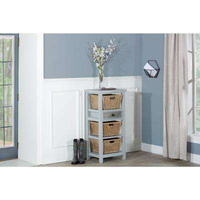 Tuscan Retreat Powder Blue Basket Stand with 3-Baskets