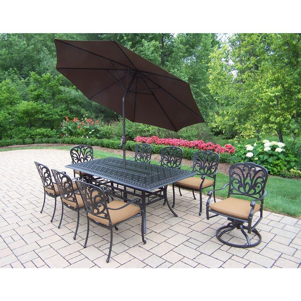 Cast Aluminum 11-Piece Rectangular Patio Dining Set with Sunbrella Canvas and