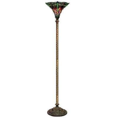 72 in. Antique Bronze Dragonfly Stained Glass Floor Lamp with Foot Switch