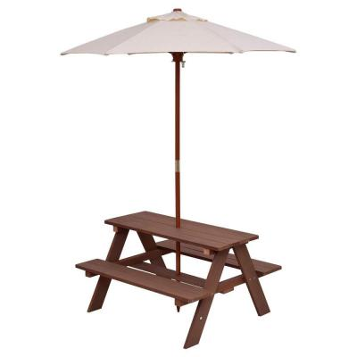 Rectangular Wood Kids Picnic Table with Bench and Umbrella (4-Seat)