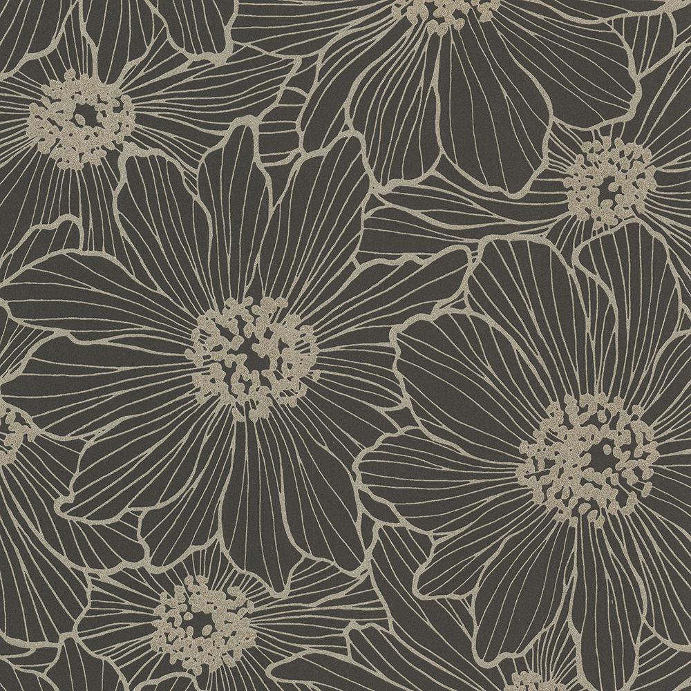 8 in. x 10 in. Vivienne Black Floral Wallpaper Sample