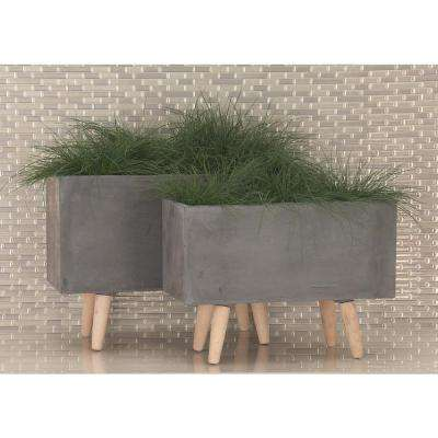 Large: 21 in., Small: 17 in. Dark Gray Fiber Clay Planters (2-Pack)