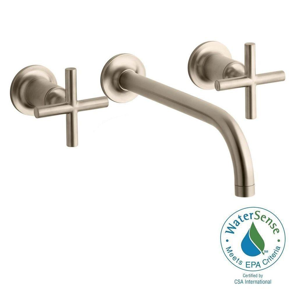 KOHLER Purist Wall Mount 2-Handle Water-Saving Bathroom Faucet Trim Kit in Vibrant Brushed Bronze (Valve Not Included)