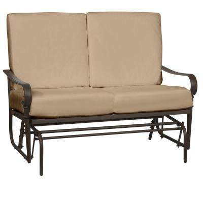 Oak Cliff Brown Steel Outdoor Patio Glider with CushionGuard Toffee Tan Cushions