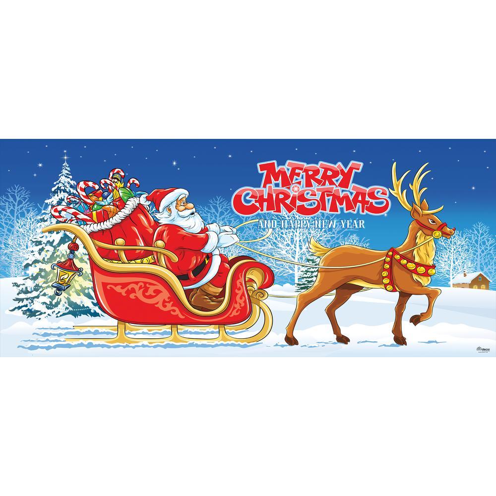 7 ft. x 16 ft. Santa's Sleigh Ride-Christmas Garage Door Decor Mural for Double Car Garage