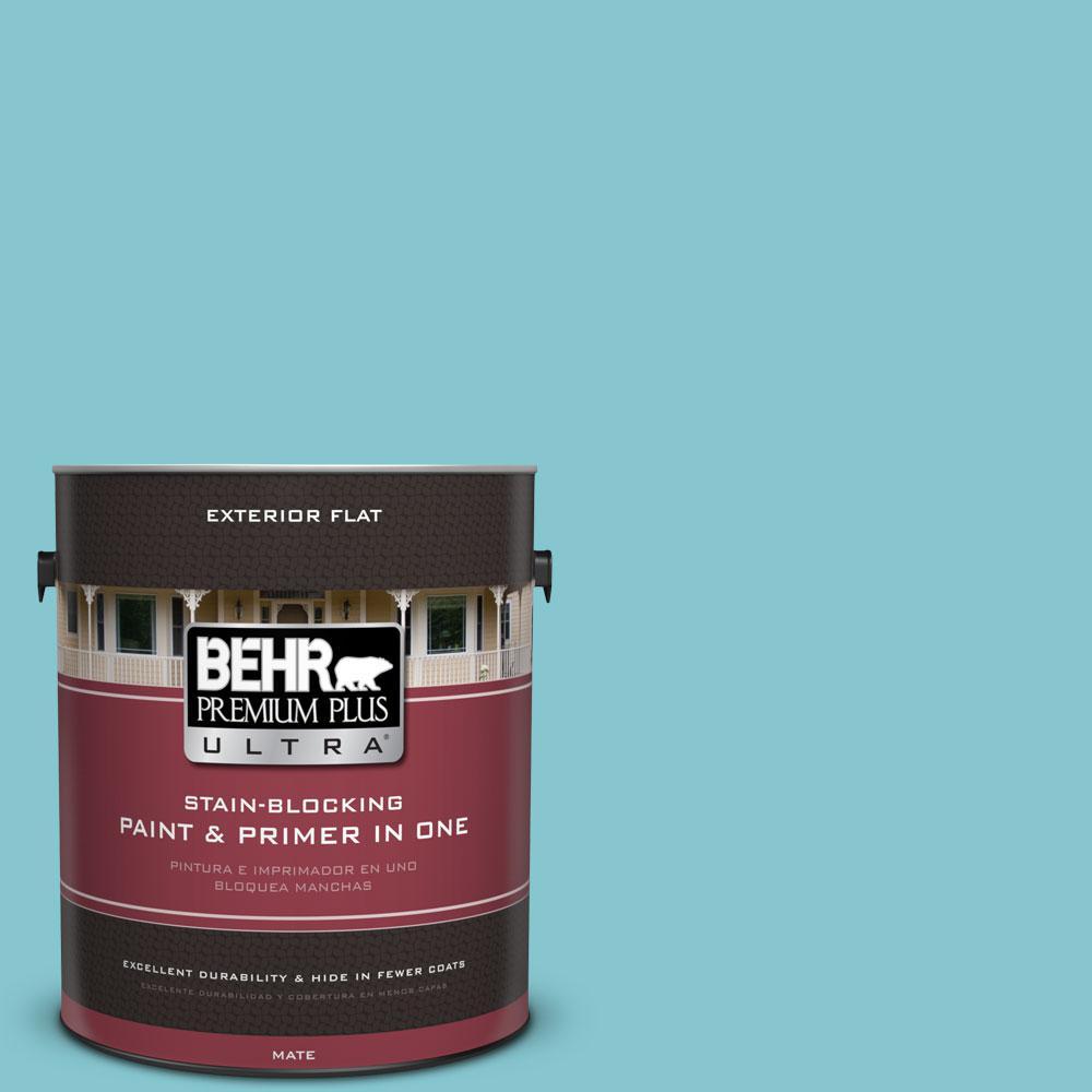 BEHR Premium Plus Ultra 1-gal. #520D-4 Shallow Sea Flat Exterior Paint
