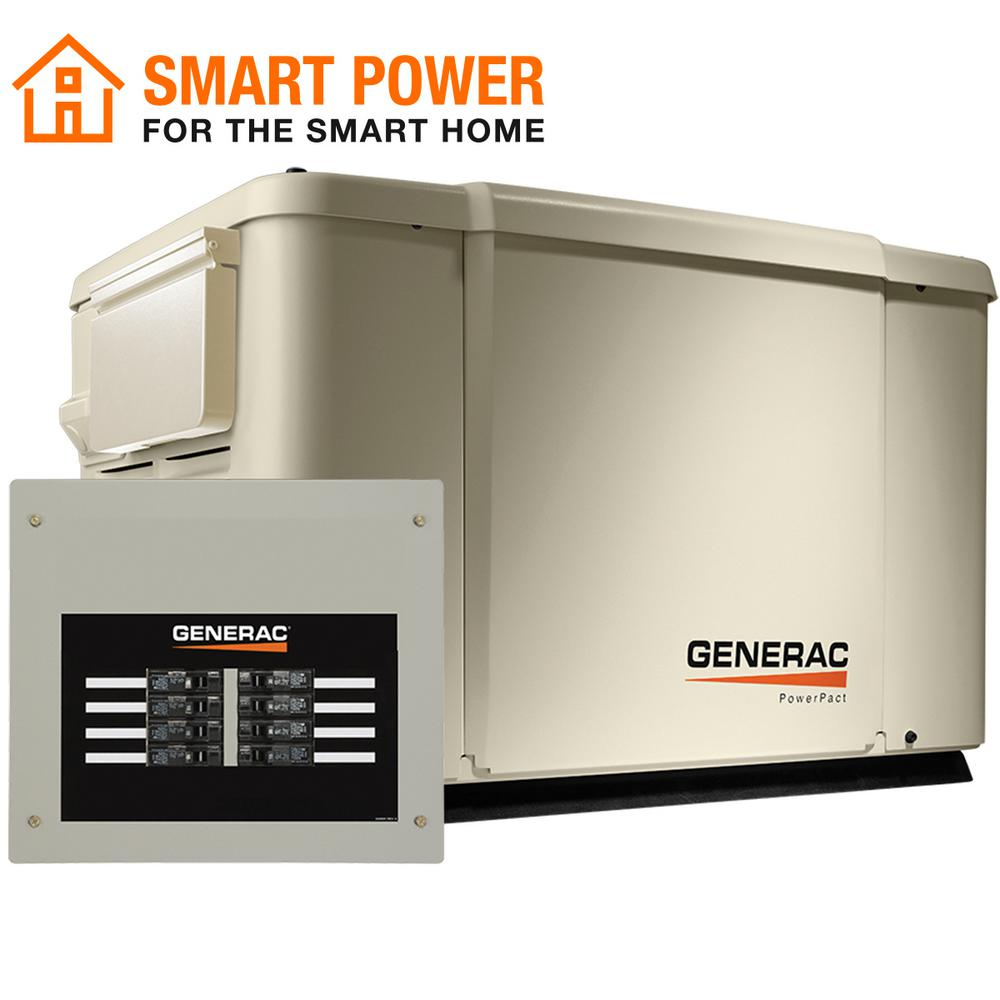 Generac Powerpact 7 500 Watt Air Cooled Standby Generator With 50 Amp Transfer Switch 6998 The Home Depot