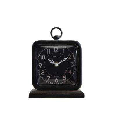Black Pewter Clock on Wood Platform
