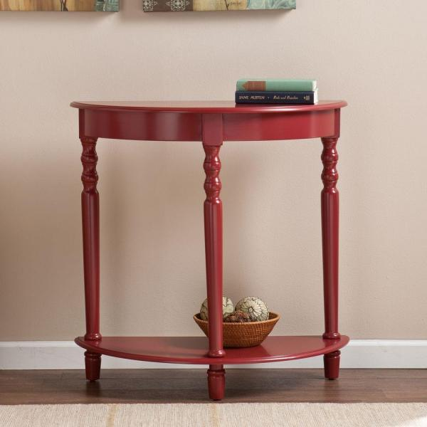 Incredible Southern Enterprises Doretta Demilune Red Console Table Home Interior And Landscaping Dextoversignezvosmurscom