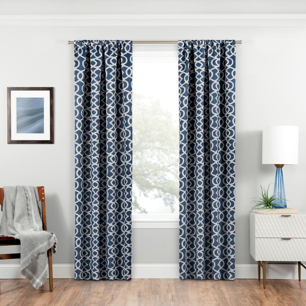 Isanti Blackout Window Curtain Panel in Indigo - 37 in. W x 84 in. L