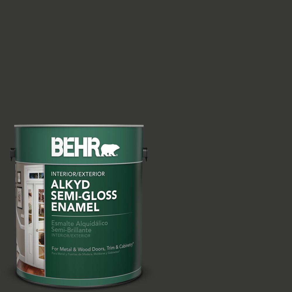 1 gal. #HDC-MD-04 Totally Black Semi-Gloss Enamel Alkyd Interior/Exterior Paint
