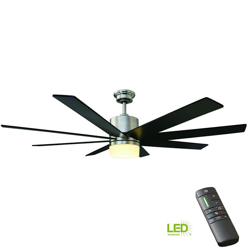 Home Decorators Collection Kingsbrook 60 In Led Indoor Brushed Nickel Ceiling Fan With Light Kit