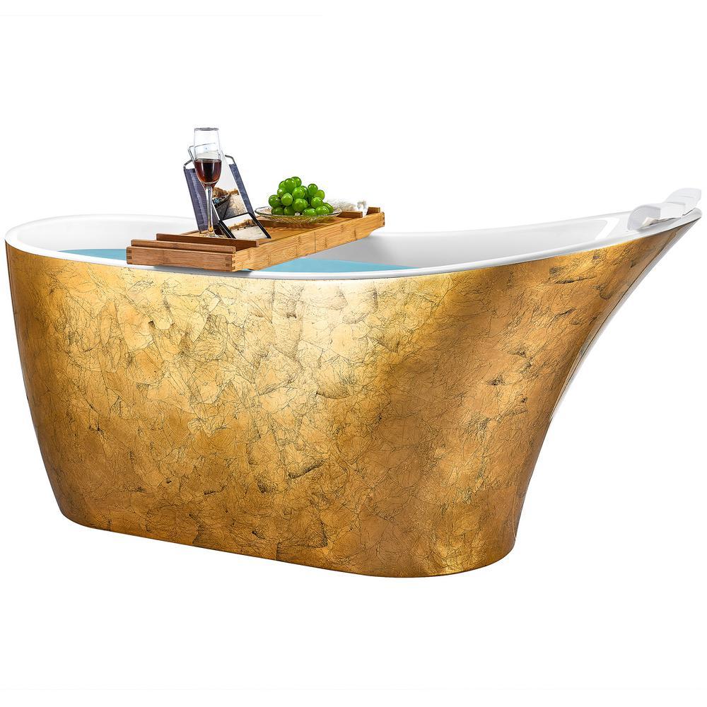 Freestanding Bathtub 63 in. Fiberglass Flat Bottom Bathtub Modern Stand Alone Tub Luxurious SPA Tub in Glossy Gold