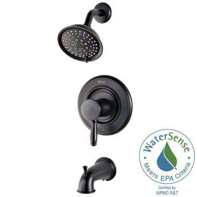 Universal 1-Handle Tub and Shower Faucet Trim Kit in Tuscan Bronze (Valve Not Included)