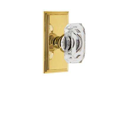 Carre Plate 2-3/8 in. Backset Polished Brass Privacy Bed/Bath with Baguette Crystal Door Knob