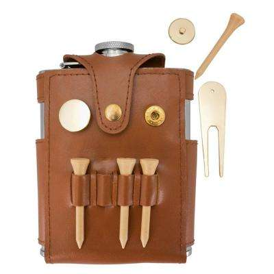 6 oz. Brown Leather Wrapped Flask W/ Golf Tools