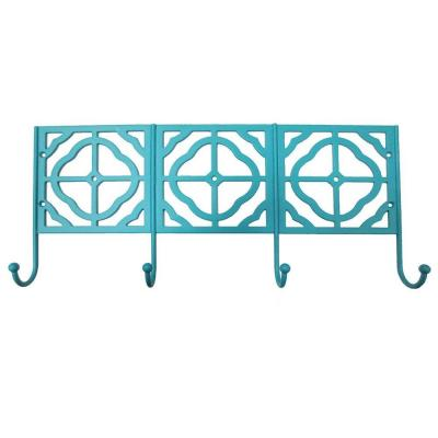16 in. L Decorative 4-Hook Rack in Teal