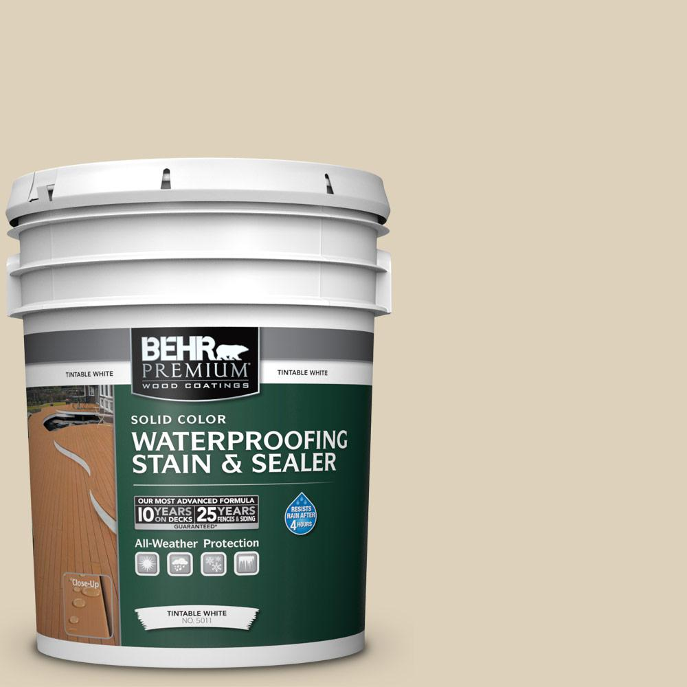 Exterior Wood Stain Natural: BEHR Premium 5 Gal. #PPU4-12 Natural Almond Solid