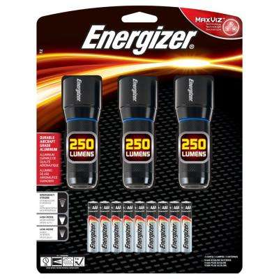 250-Lumen Metal Flashlights (3-Pack)