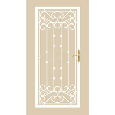 36 in. x 80 in. 368 Series Bella Wrought Iron White Prehung Security Door Recessed Mount