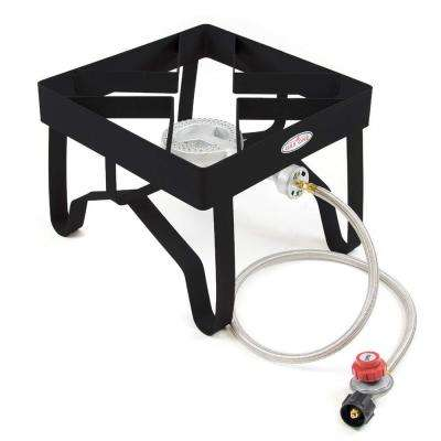 100,000 BTU High Pressure Propane Burner Outdoor Cooker Turkey Fryer with Steel Braided Hose Square Frame
