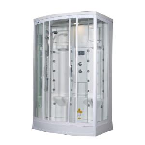 Aston ZA213 56 inch x 37 inch x 85 inch Steam Shower Left Hand Enclosure Kit in White with 28 Body Jets by Aston