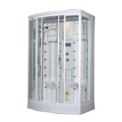 ZA213 56 in. x 37 in. x 85 in. Steam Shower Left Hand Enclosure Kit in White with 28 Body Jets