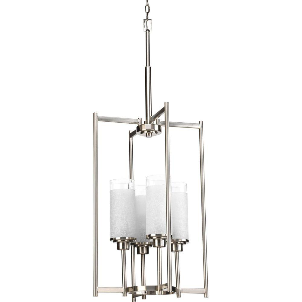 Progress Lighting Alexa Collection 4 Light Brushed Nickel Foyer Pendant With White Linen Glass