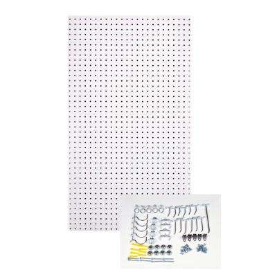 24 in. H x 42 in. W Pegboard 1 Pack White High-Density Fiberboard Kit with 36 Hooks