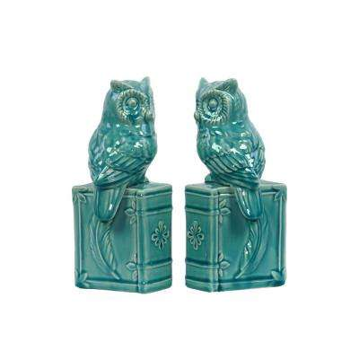 10 in. H Owl Decorative Sculpture in Turquoise Gloss Finish
