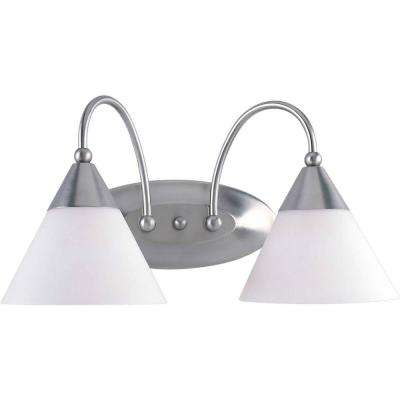 2-Light Brushed Nickel Bath Vanity Light with Satin Opal Glass
