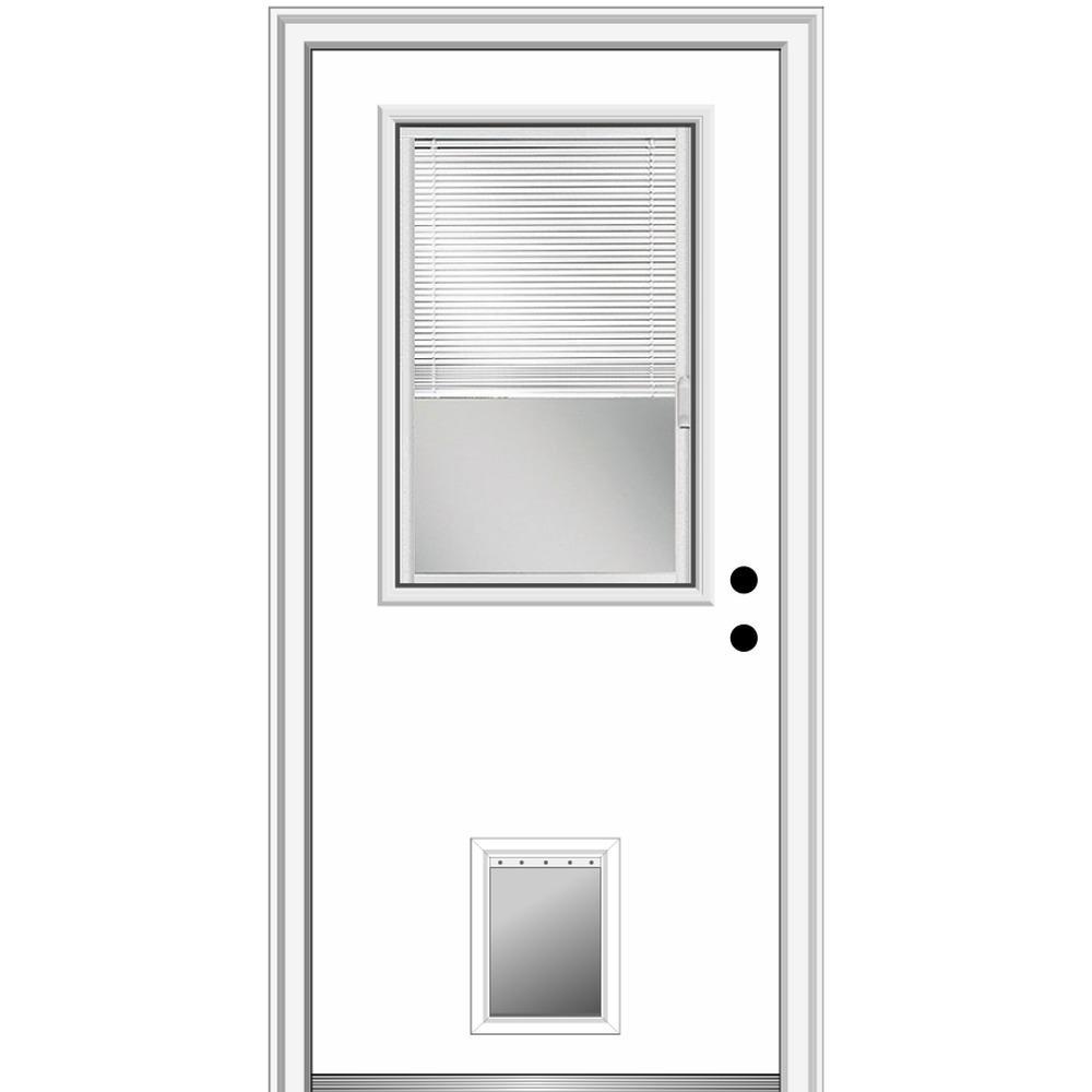 MMI Door 36 in. x 80 in. Internal Blinds Left-Hand 1/2-Lite Clear Primed Fiberglass Smooth Prehung Front Door with Pet Door