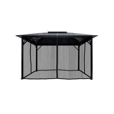 10 ft. x 12 ft. Hard Top Gazebo Poly-Carbonate Canopy with Netting